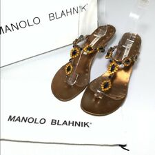 Manolo Blahnik Rhinestone Sandals Bronze Black Orange Kitten Heel Women's 36 1/2