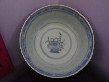 Superba VINTAGE CINESE Pottery Rice intarsiati Floreale Ciotola 11.5 cm di diametro