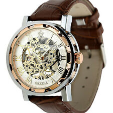 Mens Gold Dial Skeleton Black Leather Mechanical Sport Army Wrist Watch Gifts