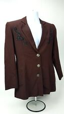 Longhorn by Niver Western Wear Embroidered Lined Jacket Blazer Sz Small NICE