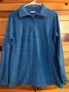 Columbia Blue Fleece Sweatshirt Women's Juniors EUC Size L