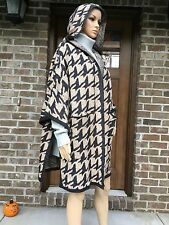 NWT ZARA PONCHO WITH HOOD HOUNDSTOOTH CARDIGAN CAPE COAT BLACK/SAND Ref.6873/133