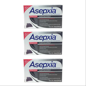 Asepxia Charcoal Cleansing Bar. Treatment For Acne & Blackheads. 4 Oz. Pack of 3