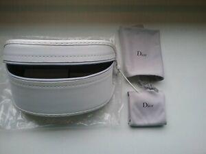 Dior weisses Brillenetui /Kosmetiktäschen mit Tuch + Beutel - Neu