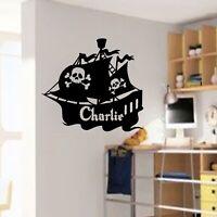 Pirate Ship Wall Sticker, Personalised name sticker, Nursery stickers, wall art
