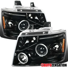 For 2007-2013 Chevy Avalanche Suburban Slick Black LED Halo Projector Headlights