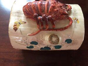 Rare Ceramic Antique Crayfish Ceramic Box Flowers Painted NICE!