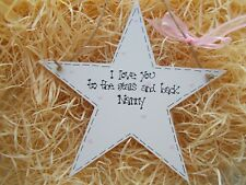 Sparkly Nanny I Love You Gift Hanging Star Keepsake Plaque Personalised