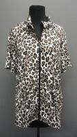 ZENERGY BY CHICO'S Brown Animal Print Full Zip Short Sleeve Jacket Sz 2 FF6356