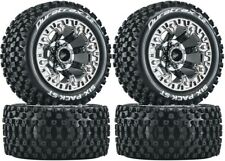 NEW Duratrax F/R Six Pack ST 2.2 Mounted Tire / Black Chrome Wheel Set (4) DT...