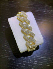 Mens Gold Cuban Curb Link Bracelet Fully Iced Out Trapstar CZ Hiphop Bling Trap