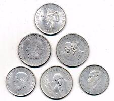 6 große, Silbermünzen aus Mexiko - 900er und 720er Silber - zusammen ca. 145 gr.