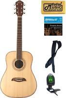 Oscar Schmidt Dreadnought 3/4 Size Acoustic Guitar, Spruce Top, Bundle, OG1 PACK