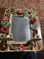 Vintage White wrought Iron Shabby Chic Rose/Floral Candle Holder Hanging Mirror