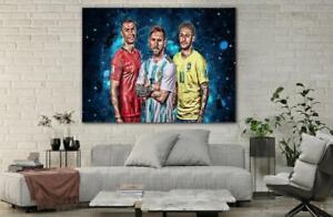 Ronaldo, Messi & Neymar Football Player  Poster Wall Art Decor