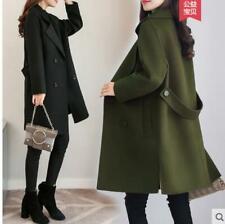 Women Cape A-style Wool Blend Winter Warm Loose Coats Jackets  Mid Long Korean