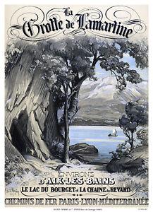 Affiche chemin de fer PLM - Environs d'Aix-les-Bains Grotte de Lamartine