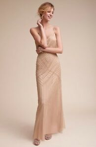 NEW BHLDN Adrianna Papell Sophia Beaded Dress Gown Size 0 Taupe