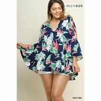 Umgee floral bell sleeve babydoll top navy plus size 1X womens boho v-neck