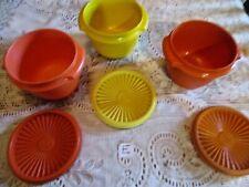 "Set of 3 Tupperware Bowls 1970 Seralier Bowls w/ Lids Harvest Gold, orange 4""T"