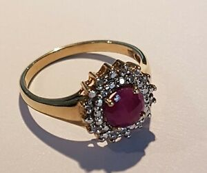 9CT GOLD RUBY & DIAMOND RING. SIZE O 1/2.  PRE-LOVED.         Ref:xeod