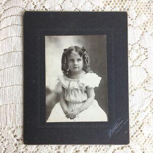 Antique Cabinet Card Photo Little Girl Victorian Ruffles Apron Dress Curls Bows