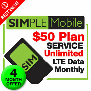 Simple Mobile SIM Card With 4 months $50 UNLIMITED Prepaid Plan Unlmited LTE