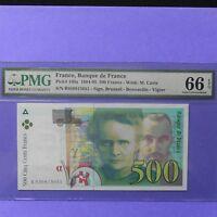1994-95 France 500 Francs, Pick # 160a, PMG 66 EPQ Gem Unc