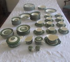ANTIQUE COLONIAL HOMESTEAD GREEN 93 PC DISH SET BY ROYAL CHINA - AWESOME