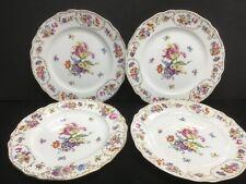FRANCONIA KRAUTHEIM DRESDEN FLOWERS set of 4 SALAD PLATES vintage fine china