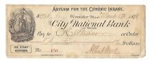 1878 Asylum For The Chronic Insane Check City National Bank Worcester Mass