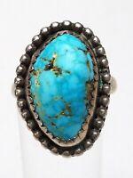 925 Silber Ring Indianerschmuck Navajo Meisterpunze großer natürlicher Türkis