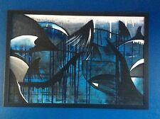 Original acrylic painting. Whales. By Jason Foote. Professionally framed