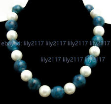 10/12mm Round Blue Natural Chrysocolla Gems & White Shell Pearl Necklaces 18''
