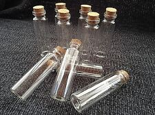 10 Mini Glass Bottles/Jars/Vials With Cork Stopper Size 74mm x 22mm.  (H)