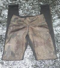 Lululemon 4 Wunder Under Golden Goddess Cashew Gold Beaded Black Skinny Leg Pant