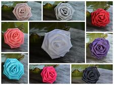 "(2)Turquoise Satin Roses, 3"" Large Satin Rosettes, Satin Rolled Rosette, Roses"