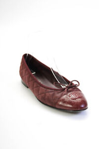 Chanel Womens Quilted Leather Cap Toe Ballet Flats Burgundy Size 38.5 8.5
