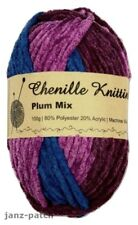 3 x 100g - Chenille Knitting Crochet Yarn Thick and Soft - Plum Blue Pink