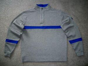 Men's NWOT FOOTJOY 1/4 Zip Golf Pullover L HEATHER GRAY w/Royal Blue Trim w/Golf