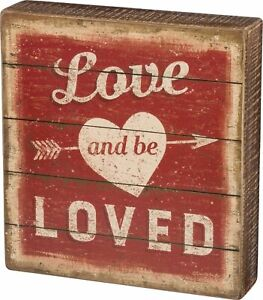 """PRIMITIVE WOOD BOX SIGN """"Love And Be Loved"""" Heart Wall Art/Shelf Sitter"""