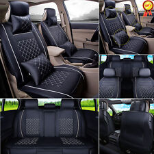 5-Seat Car M Size PU Leather Seat Cover For SUV Sedan Front+Rear+Gift Pillow EGD