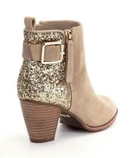 Women Sequins Block Heels Zip Round Toe Ankle Boots Stitching Color Bling Shoes