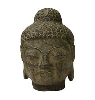 Chinese Oriental Brown Gray Stone Carved Buddha Head Figure cs3713