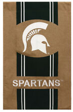 """New listing Michigan State University Spartans Burlap Ncaa House Flag 2 Sided 28"""" x 44"""""""