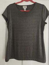 CHICOS Size 1 Shimmer Gunmetal Gray Spandex Blend Knit Top