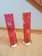 Antique Art Deco Cranberry Glass Vase Candle Holder Etched Column Vases Pair