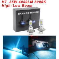 H7 LED Headlights Bulbs Kit High Low Beam 35W 4000LM Super Bright 8000K Ice-Blue