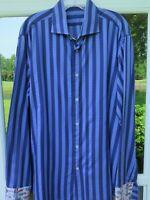 Robert Graham Men's Cotton Blue Striped Sport Cars Casual Shirt Euro 43 17 L/XL