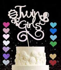 Twin girls glitter cake topper baby shower gender reveal girl party cake smash